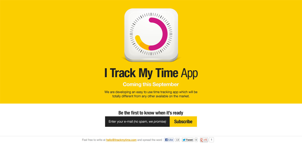 iTrackMyTime iPhone app Website Screenshot