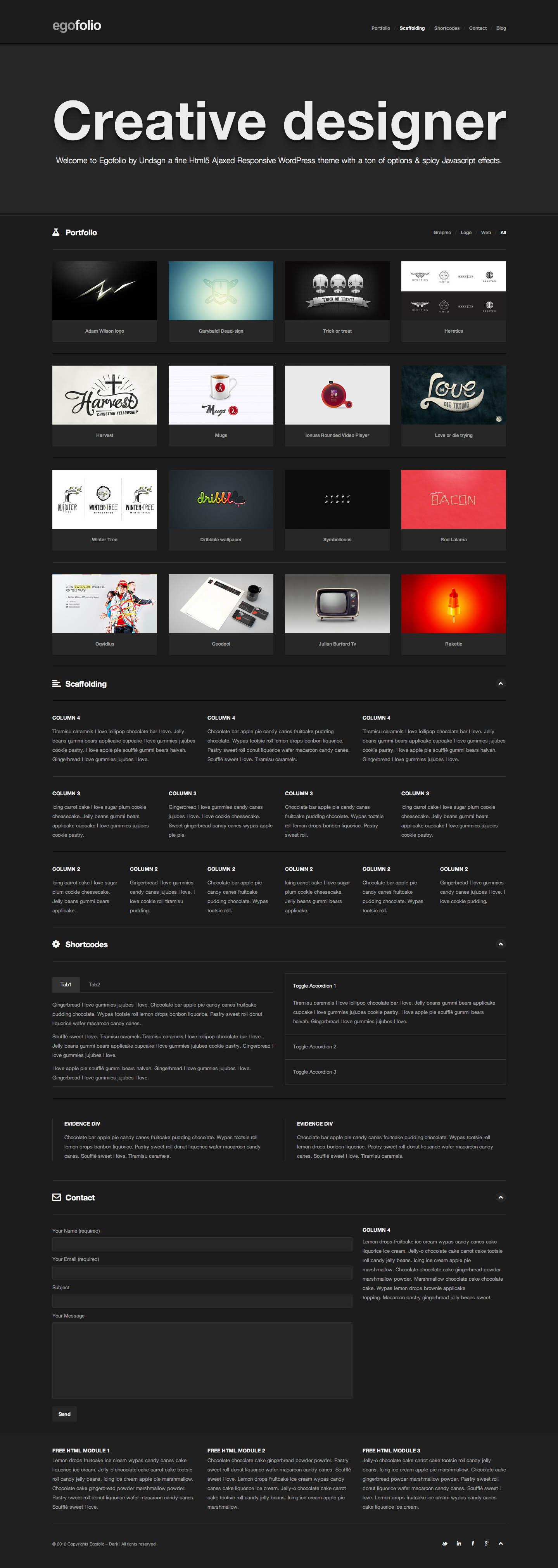 Egofolio Website Screenshot