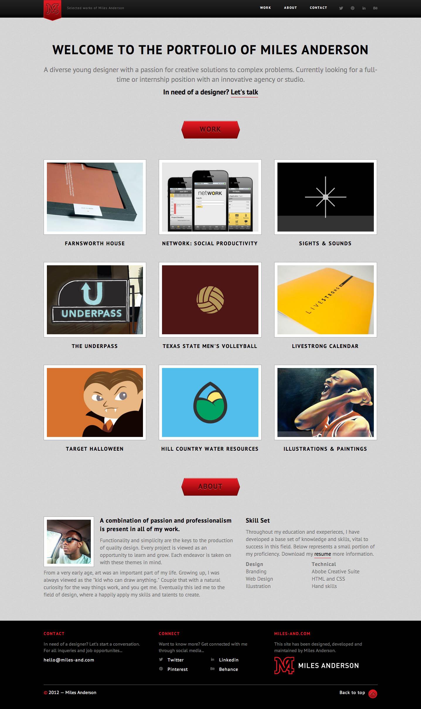 Miles Anderson Design Website Screenshot
