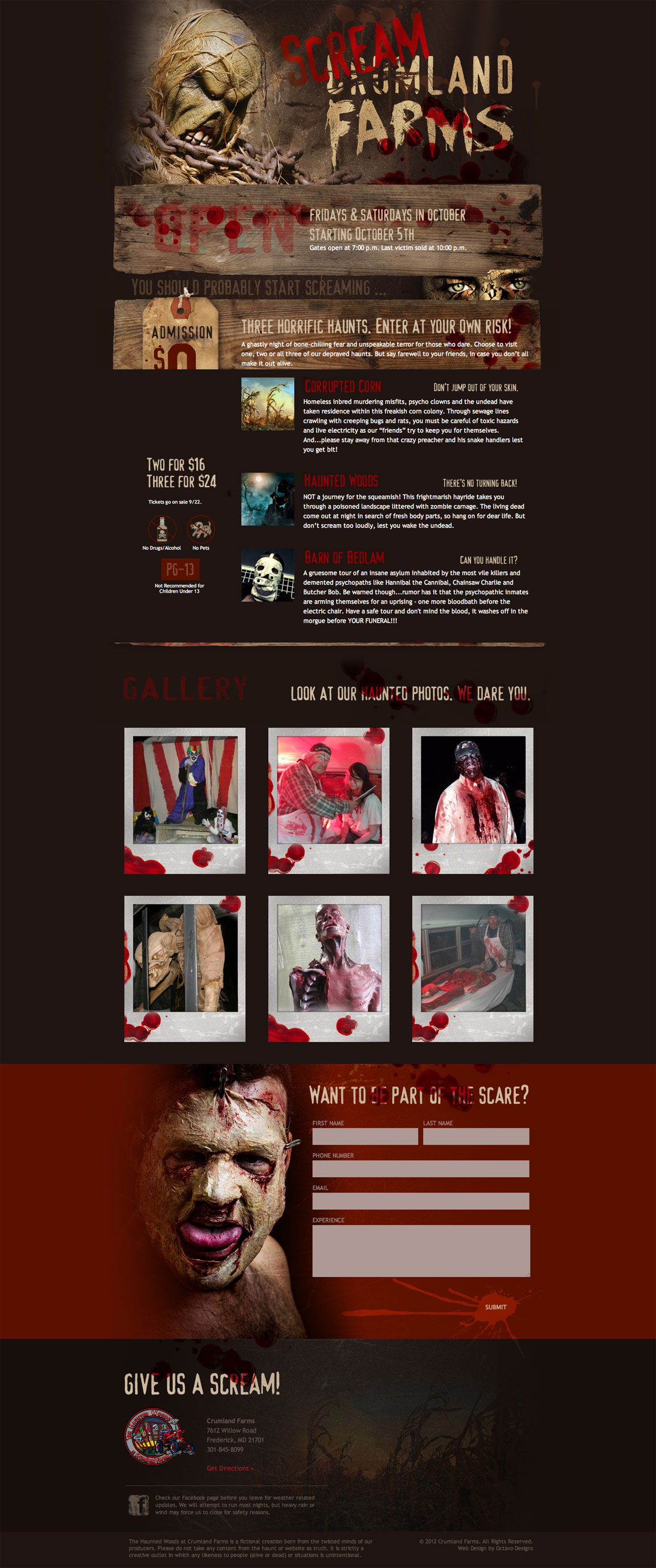 Screamland Farms Website Screenshot