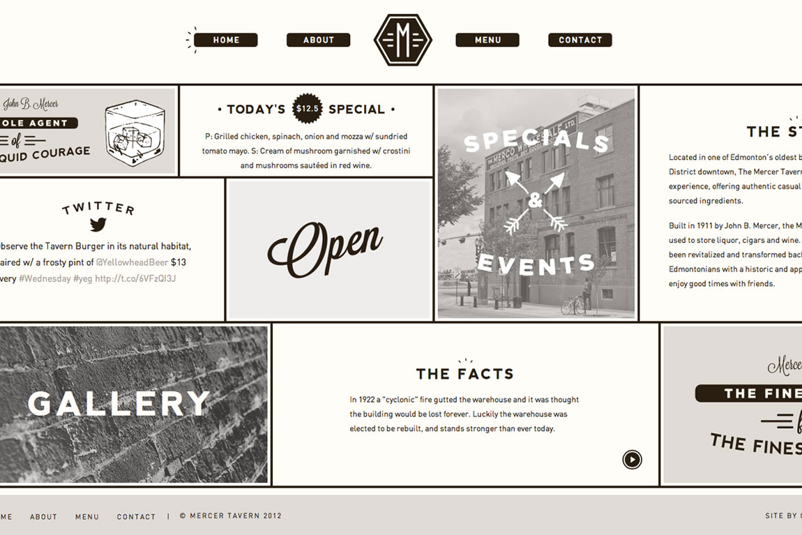 Mercer Tavern Website Screenshot