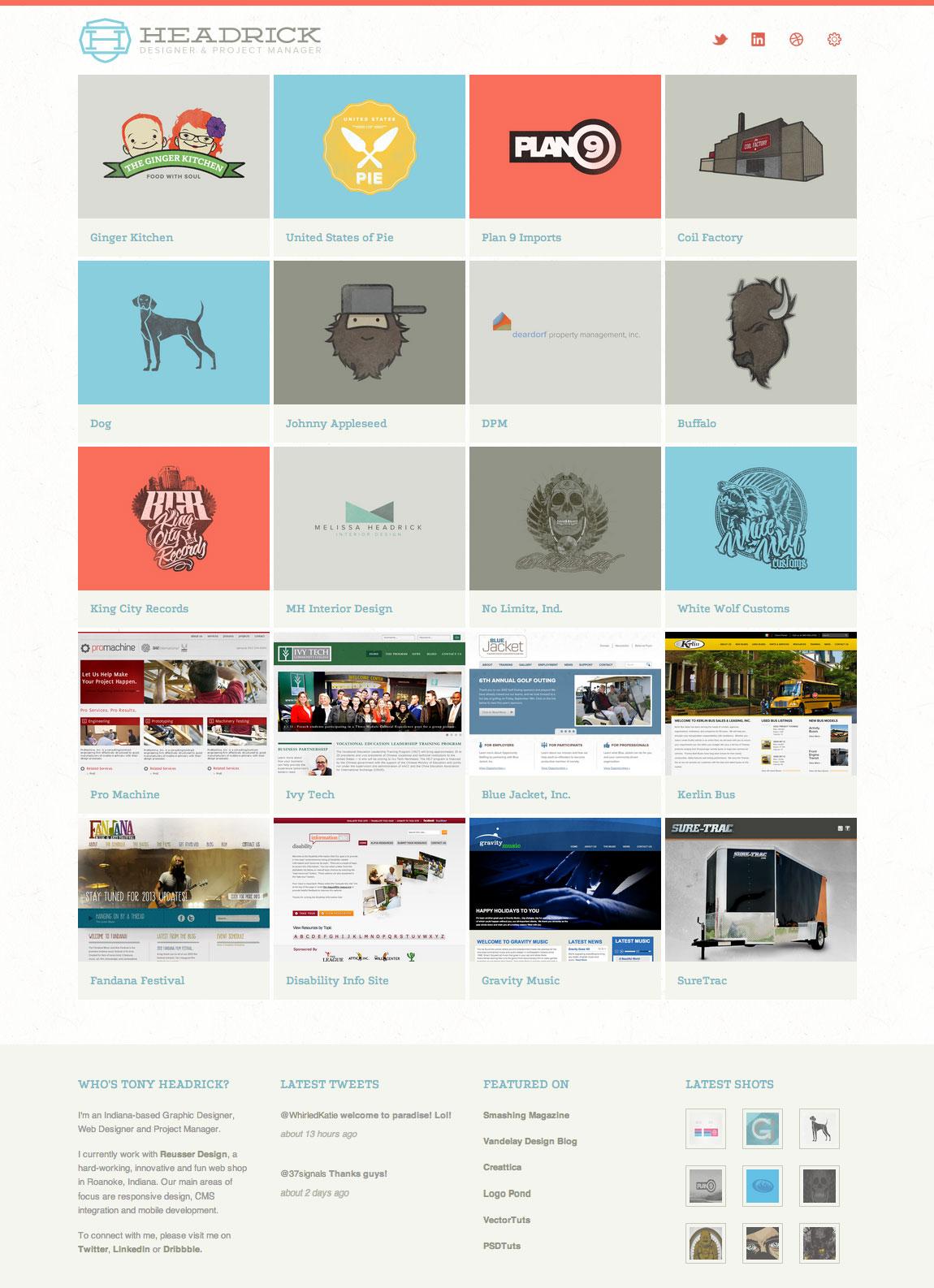 Tony Headrick Website Screenshot