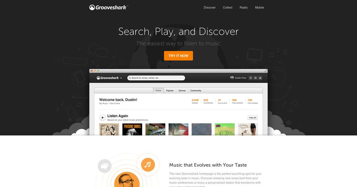 New Grooveshark Website Screenshot