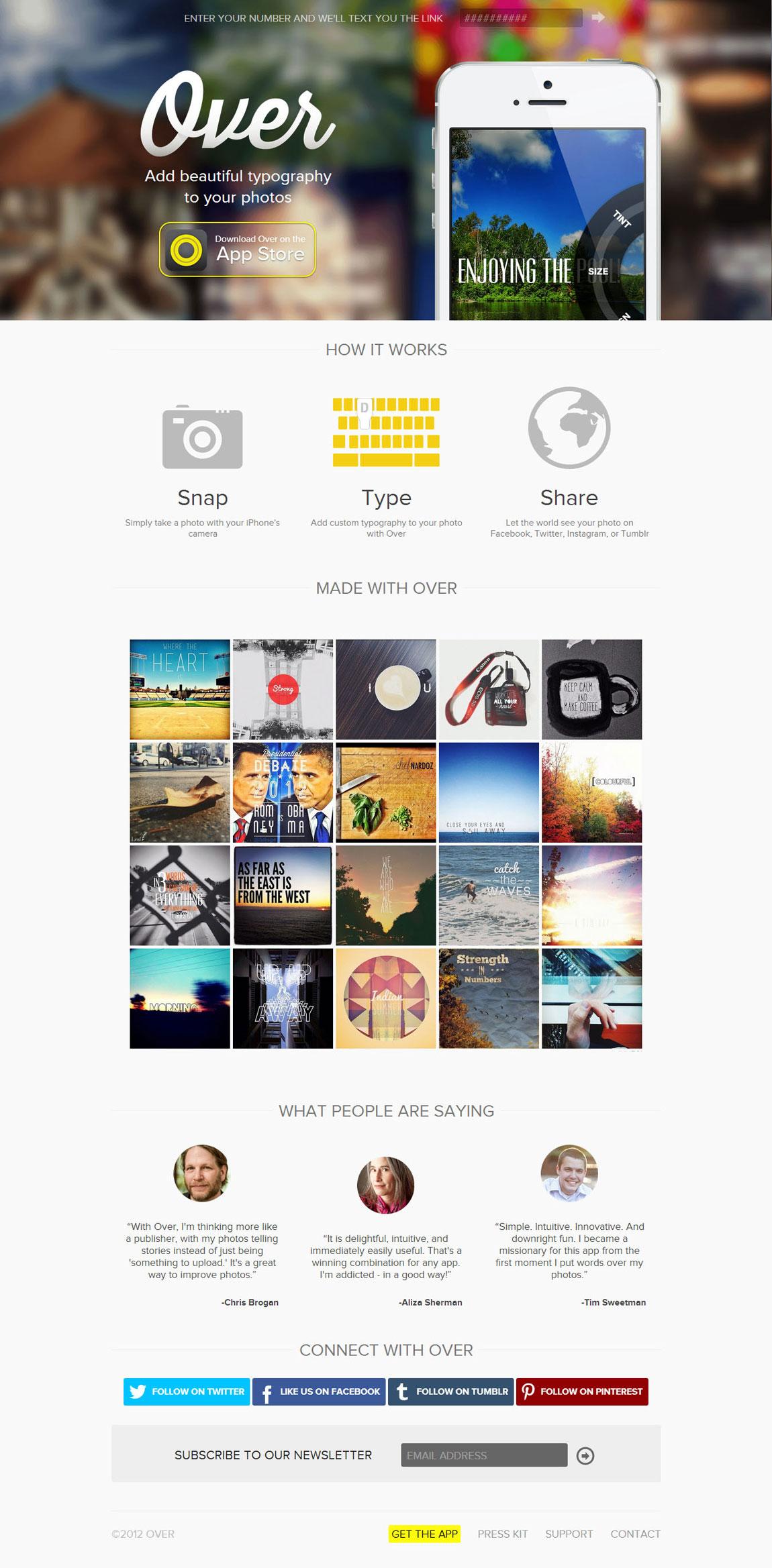 Over App Website Screenshot