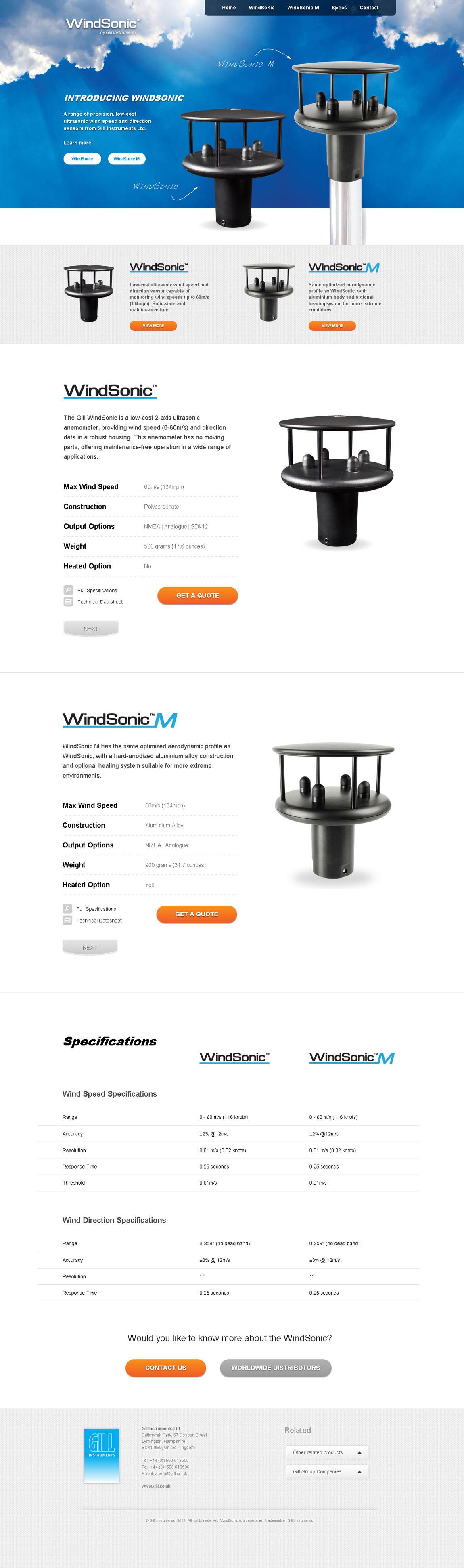WindSonic Wind Sensor Website Screenshot