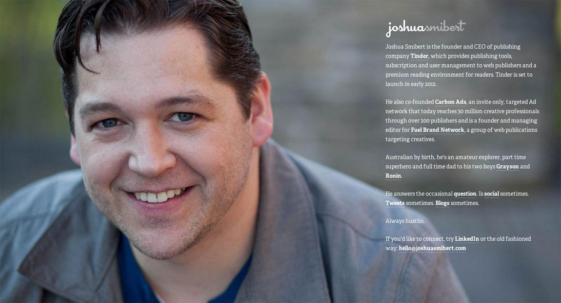 Joshua Smibert Website Screenshot