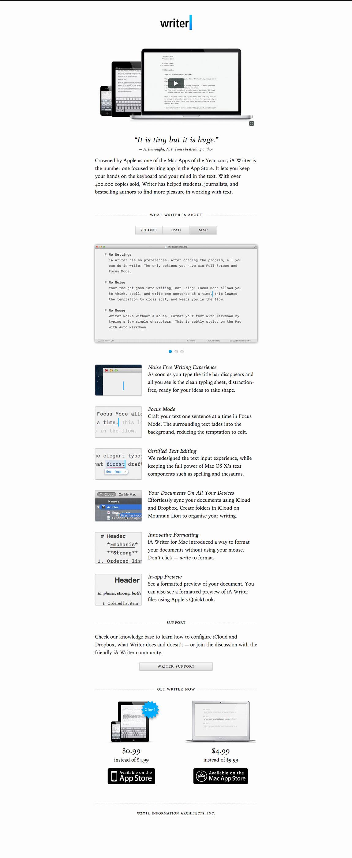 iA Writer Website Screenshot
