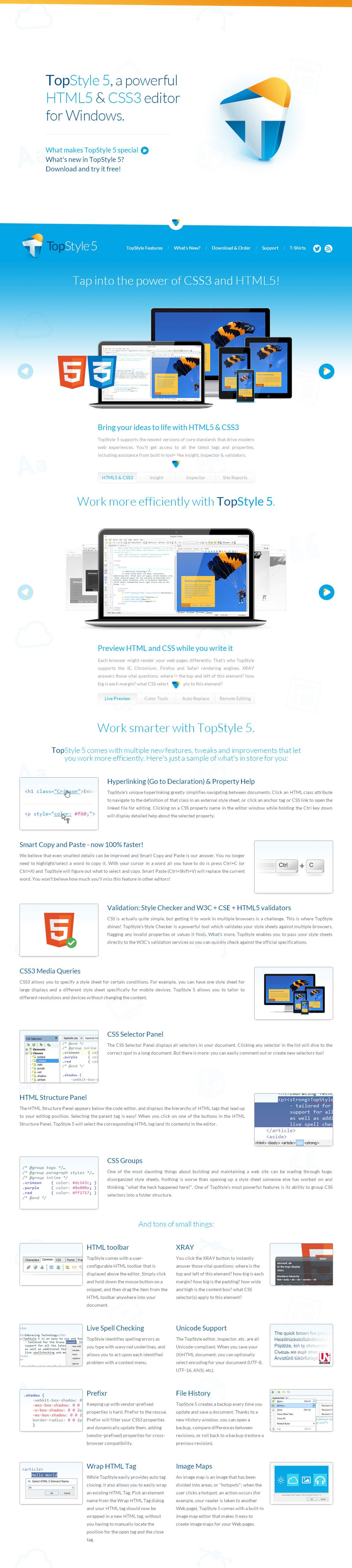 TopStyle 5 – HTML5 & CSS3 Editor Website Screenshot