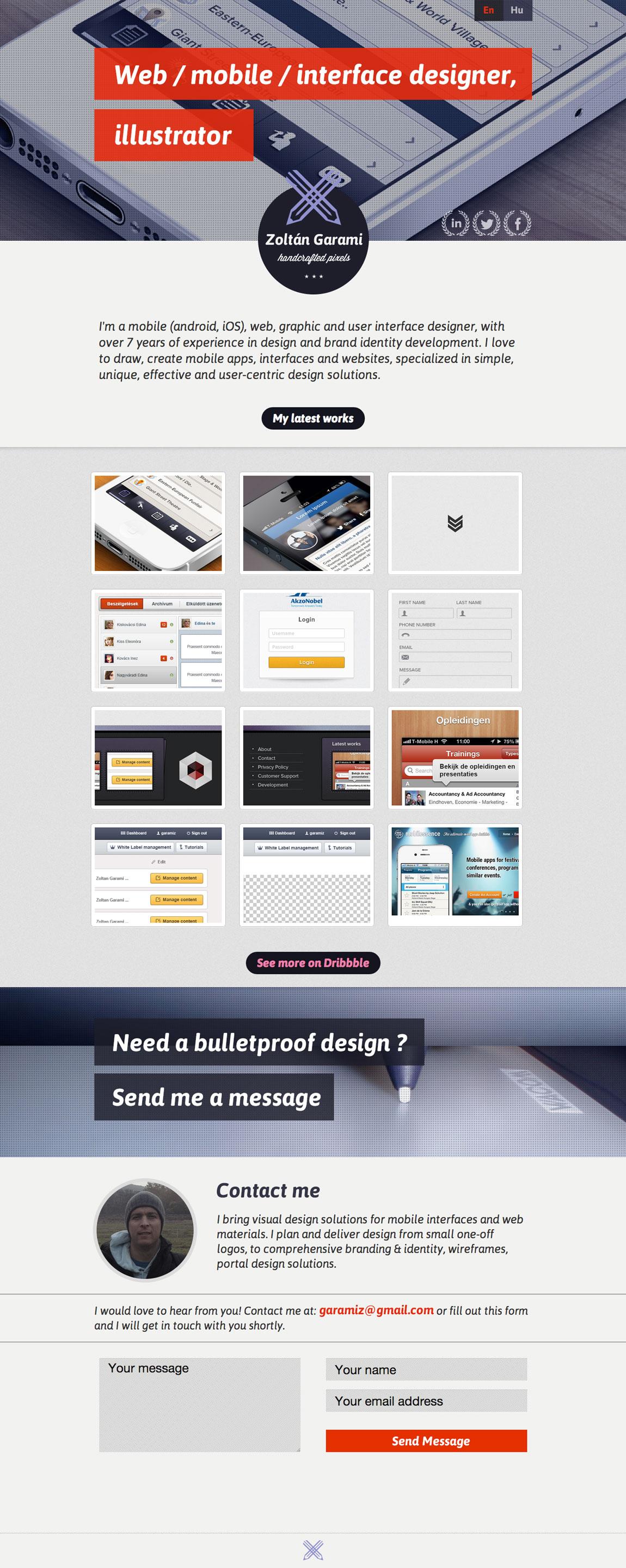 Zoltan Garami Website Screenshot