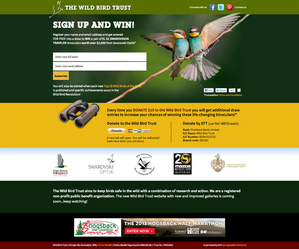 Wild Bird Trust Website Screenshot