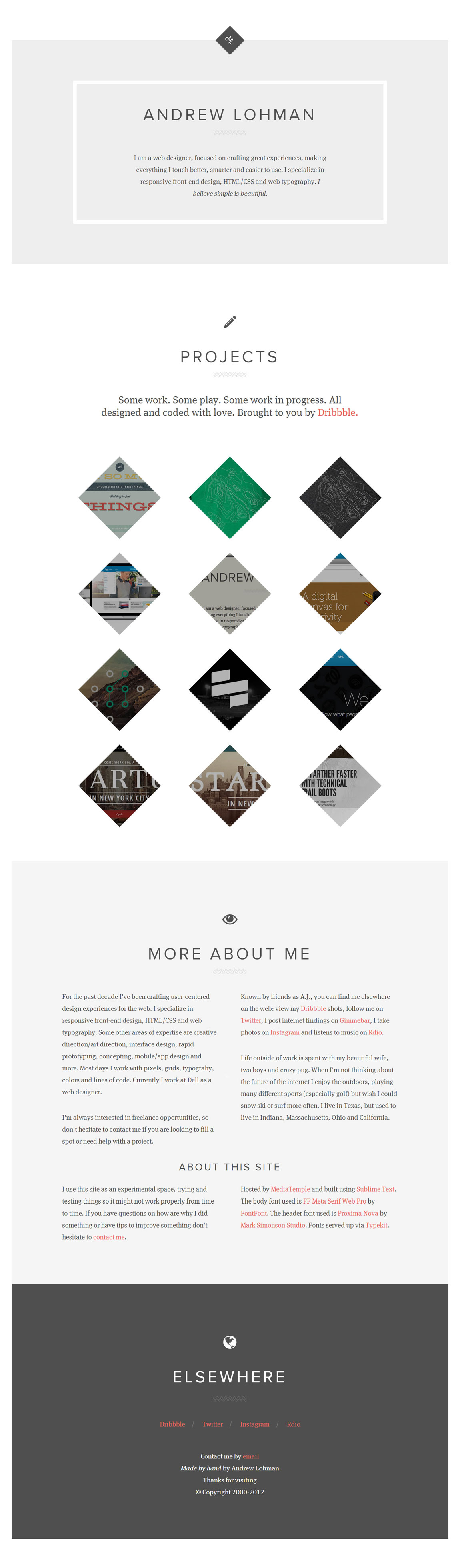 Andrew Lohman Website Screenshot