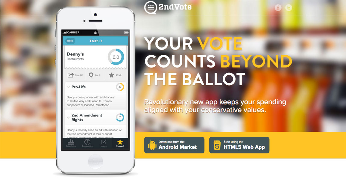 2nd Vote Shopping App Website Screenshot