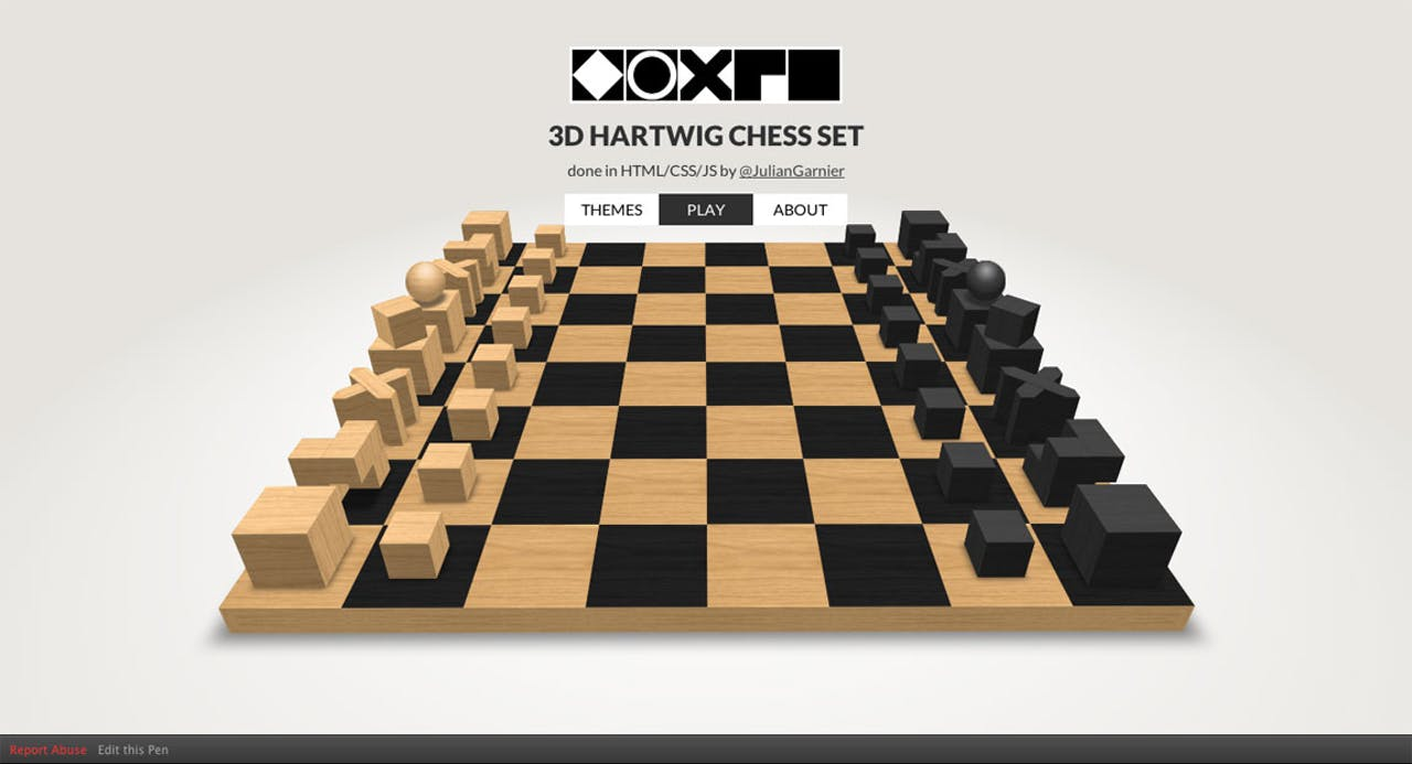 3D CSS Hartwig chess set Website Screenshot
