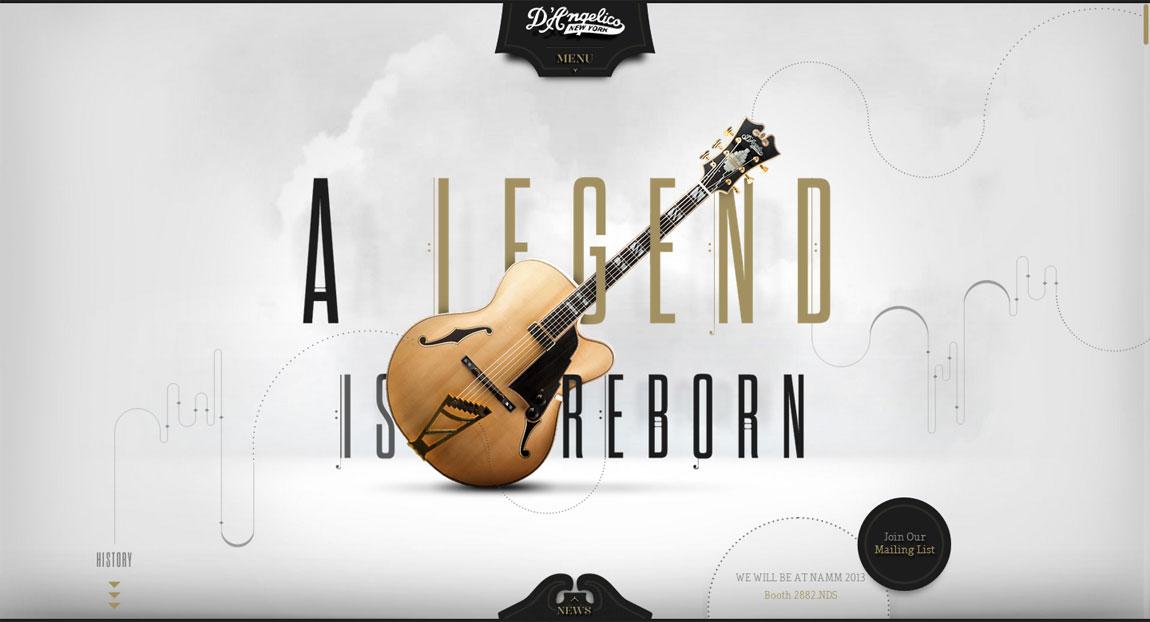 D'Angelico Guitars Website Screenshot