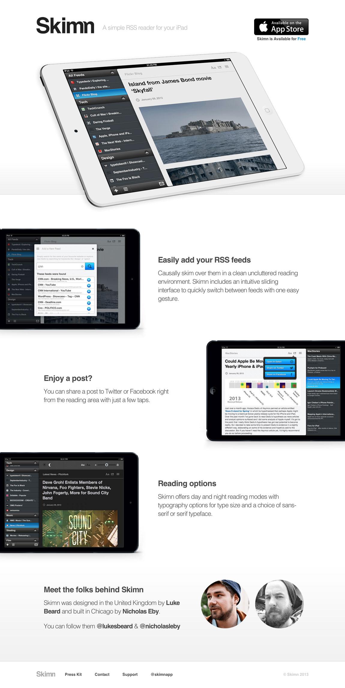 Skimn Website Screenshot