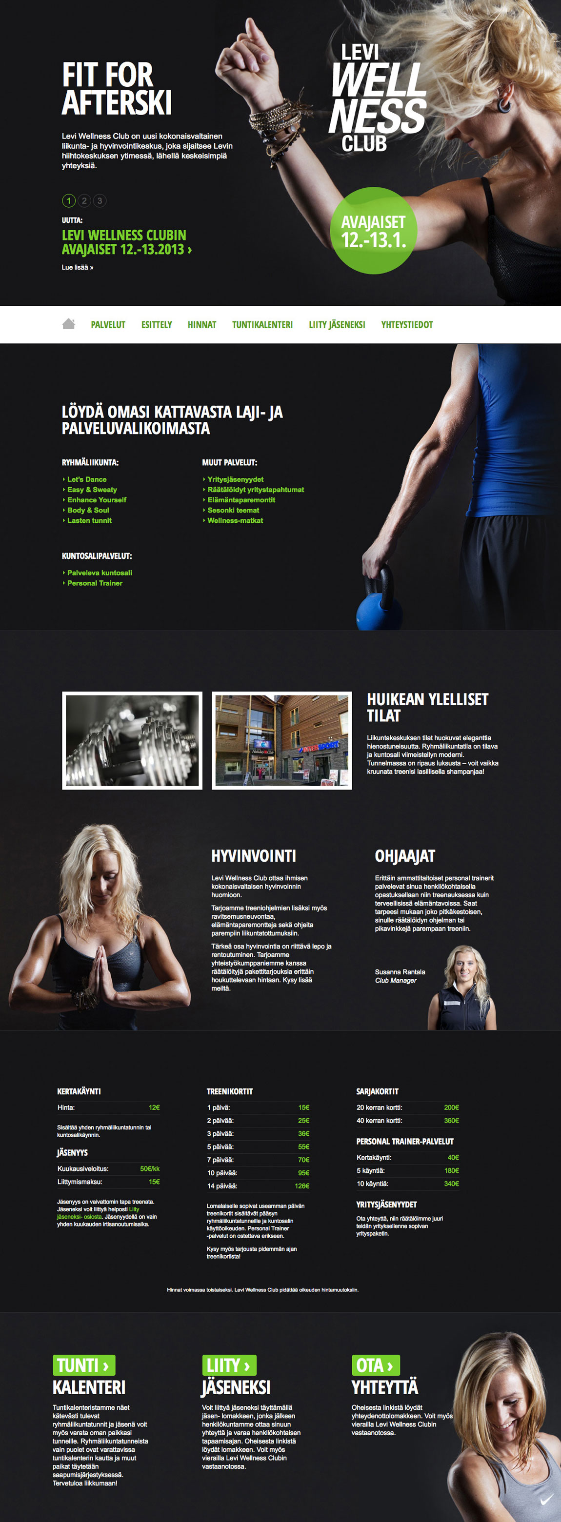 Levi Wellness Club Website Screenshot