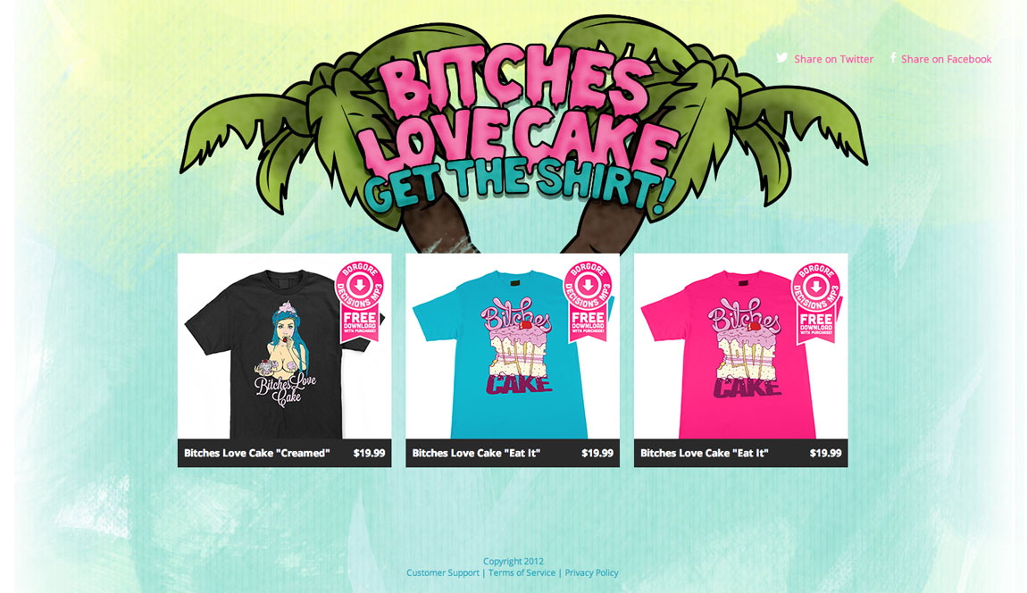 Bitches love cake Website Screenshot