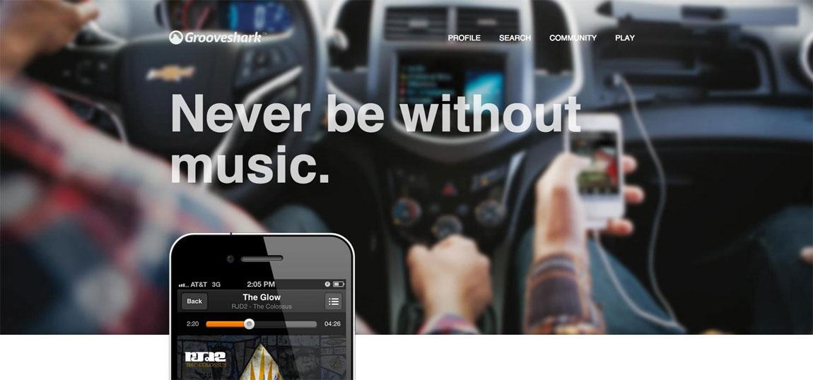 Grooveshark's Mobile App Website Screenshot