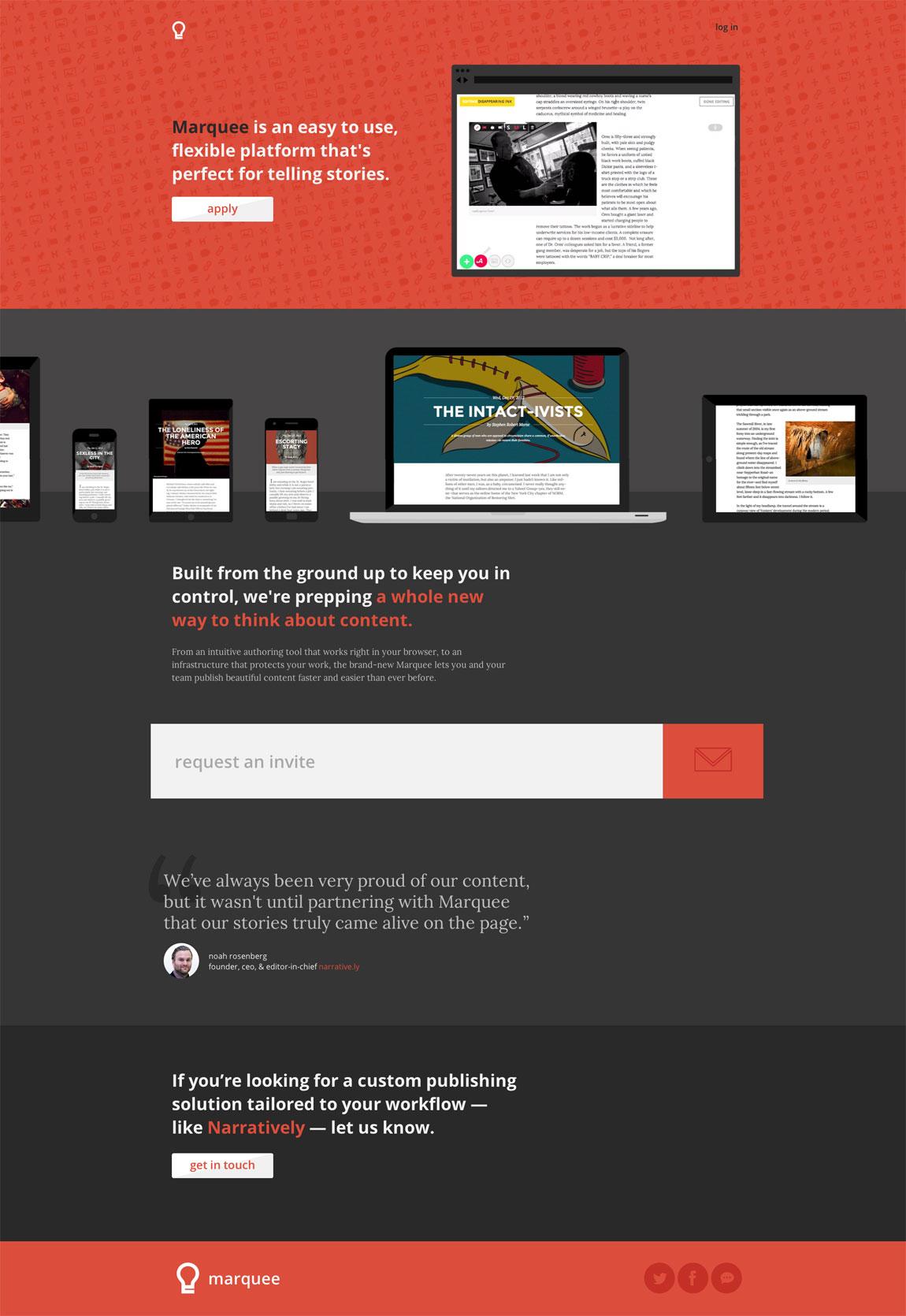 Marquee Website Screenshot
