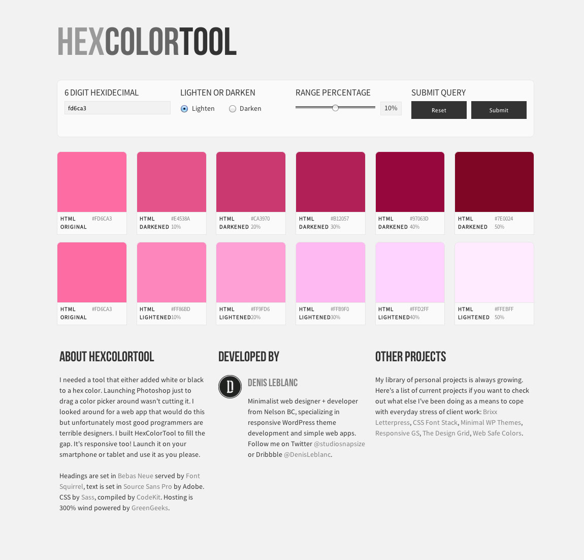 Hex Color Tool Website Screenshot