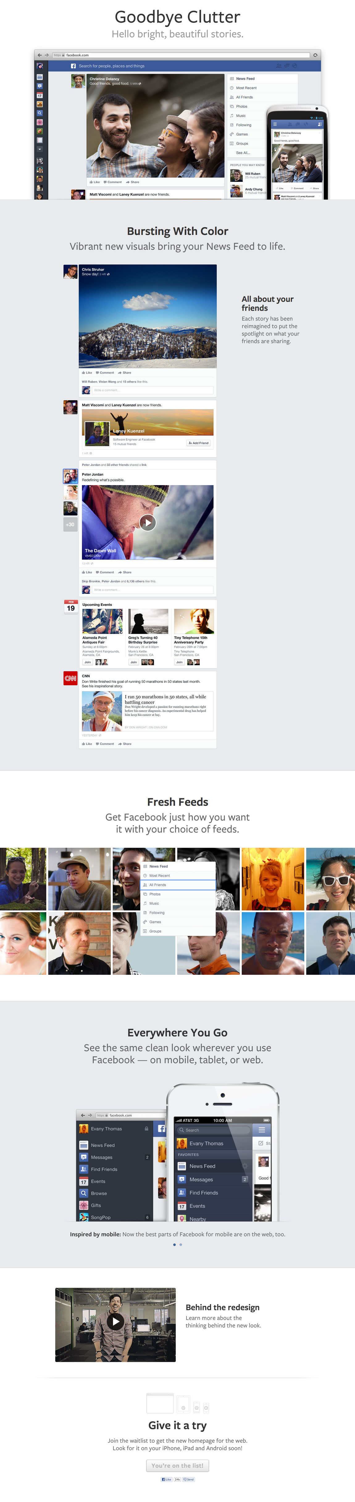 Facebook News Feed Redesign Website Screenshot