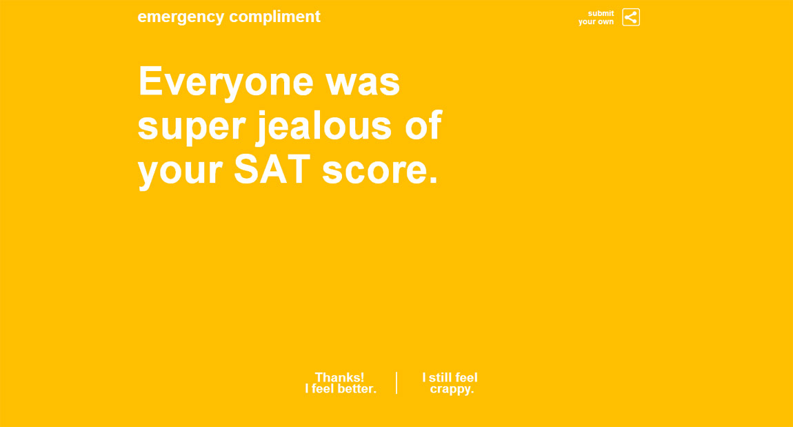 Emergency Compliment Website Screenshot
