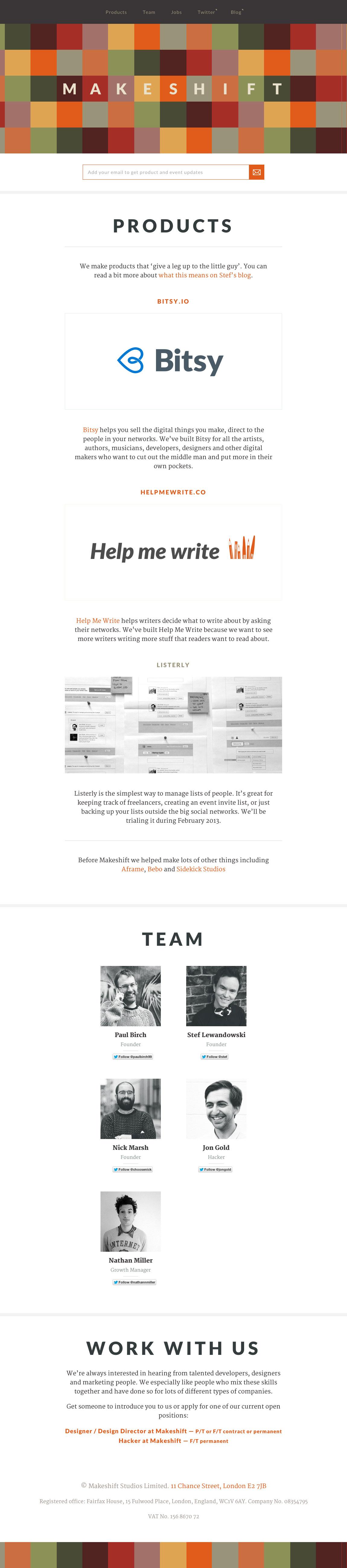 Makeshift Website Screenshot