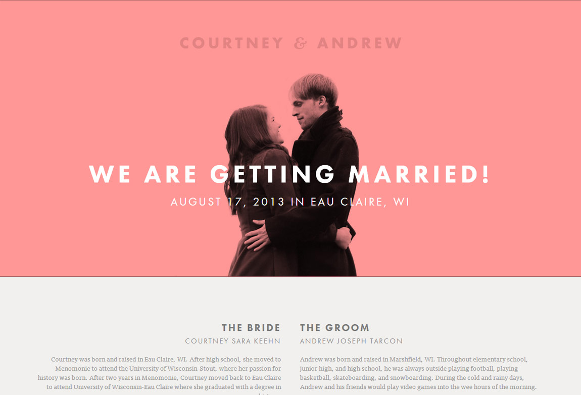Courtney & Andrew Website Screenshot