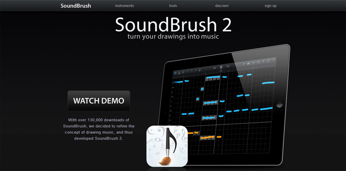 SoundBrush Website Screenshot