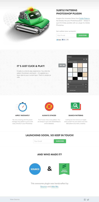 Subtle Patterns Photoshop plugin Website Screenshot