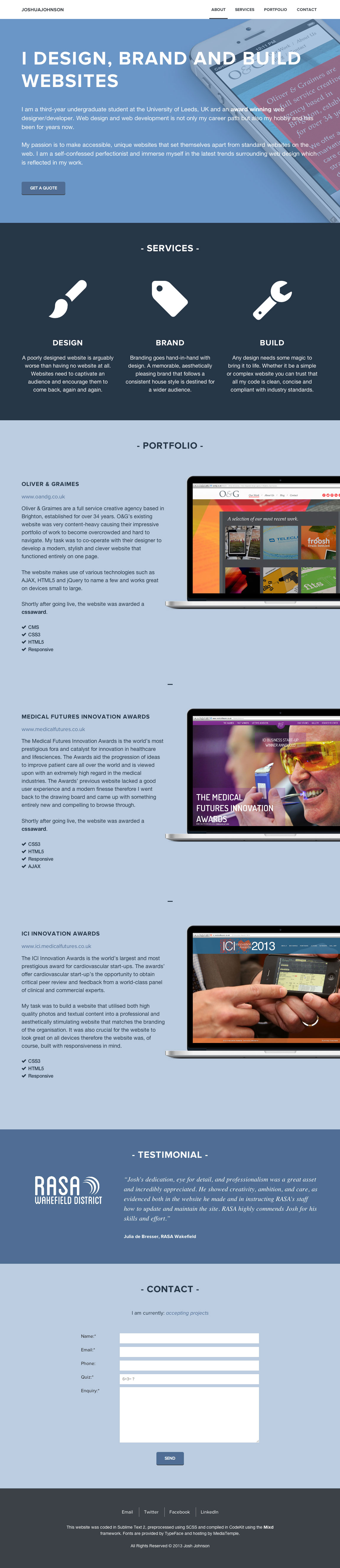 Josh Johnson Website Screenshot