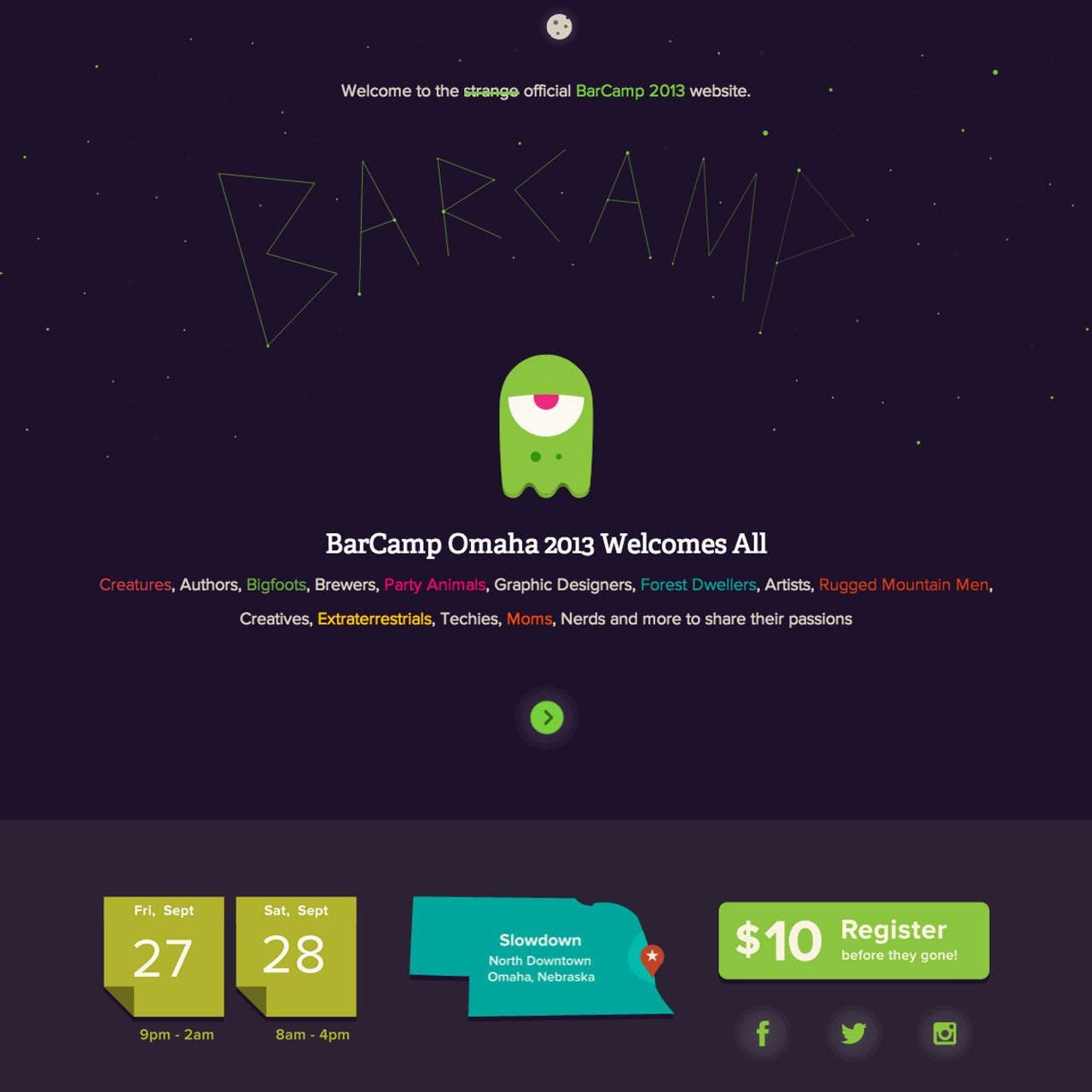Barcamp Omaha 2013 Website Screenshot