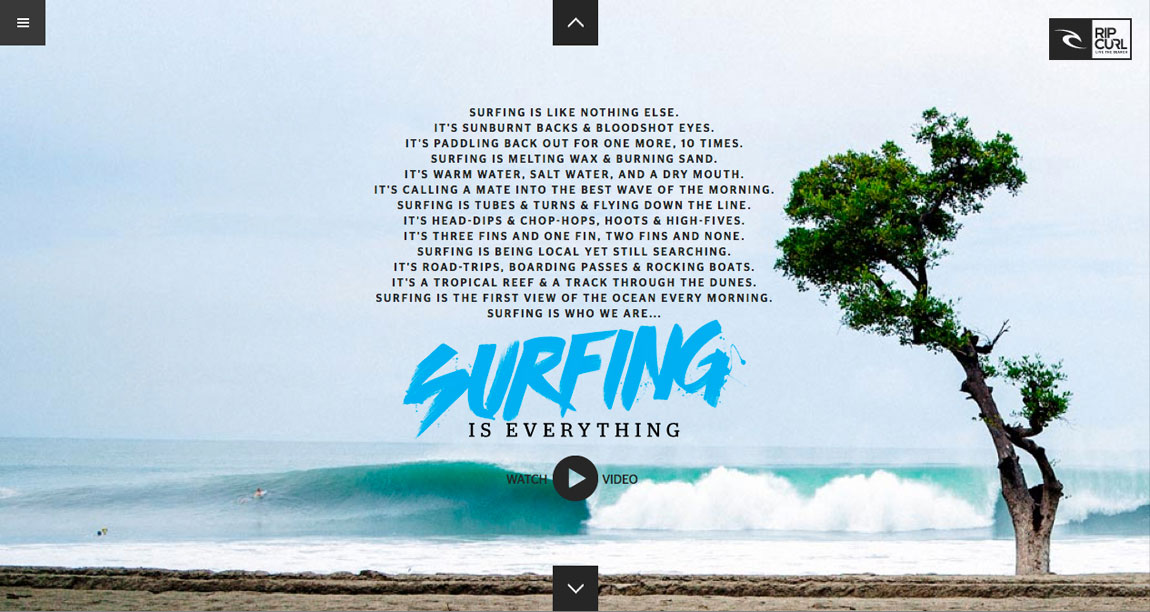 Surfing Is Everything by Rip Curl Website Screenshot