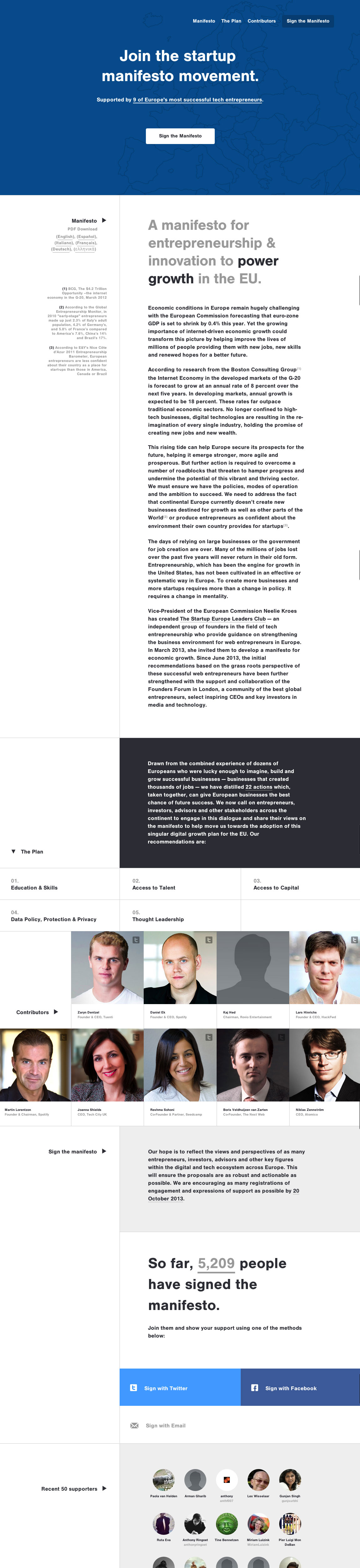Startup Europe Website Screenshot