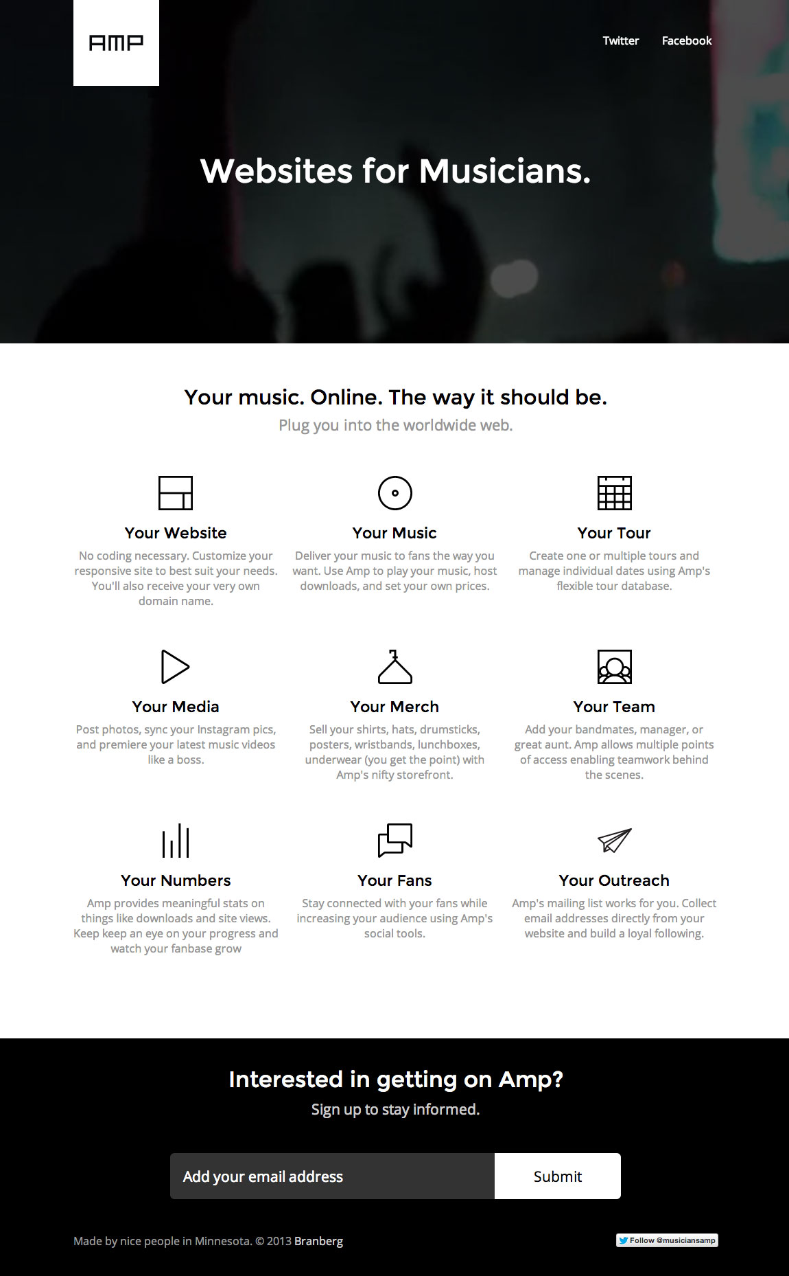 Amp – Websites for Musicians Website Screenshot