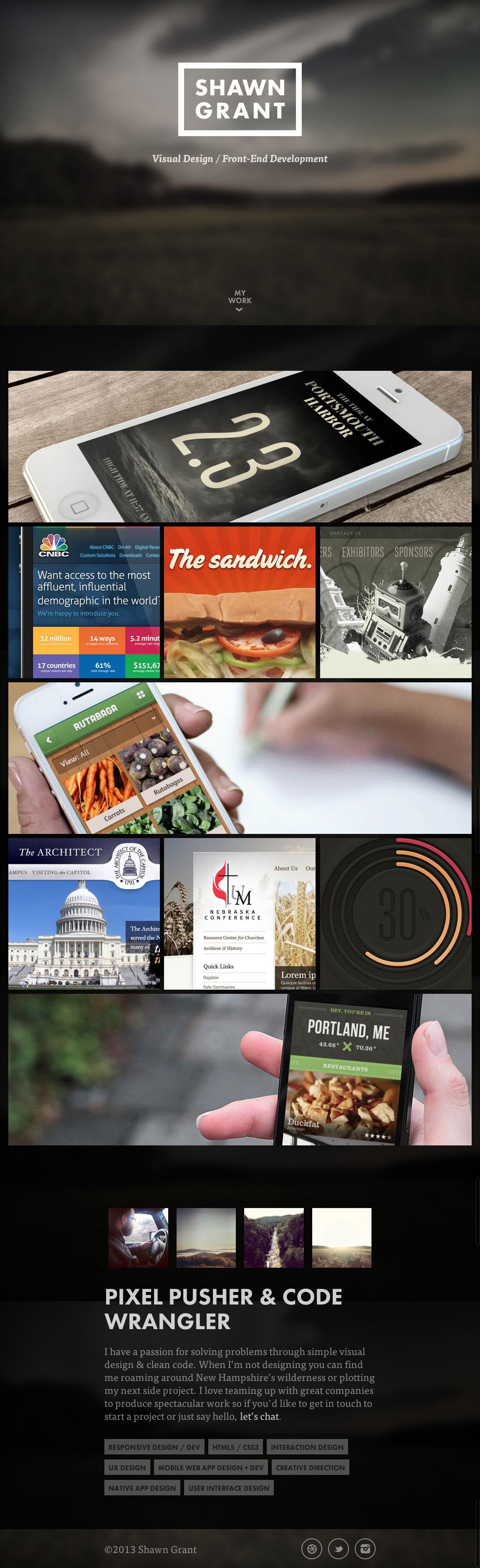 Shawn Grant Website Screenshot