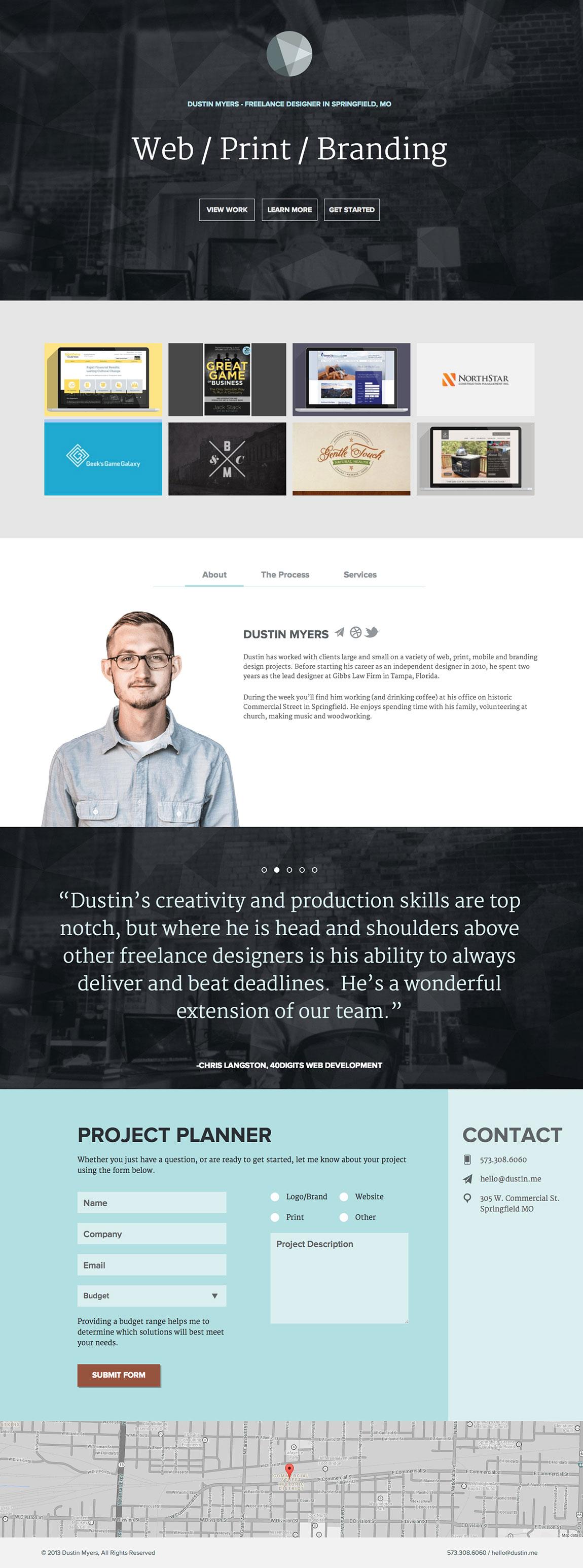 Dustin Myers Website Screenshot