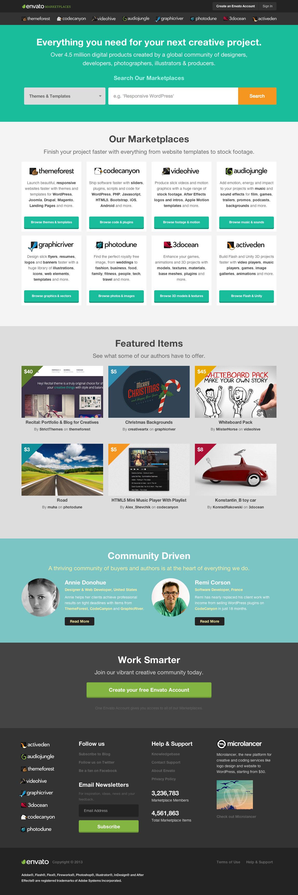 Envato Marketplaces Website Screenshot