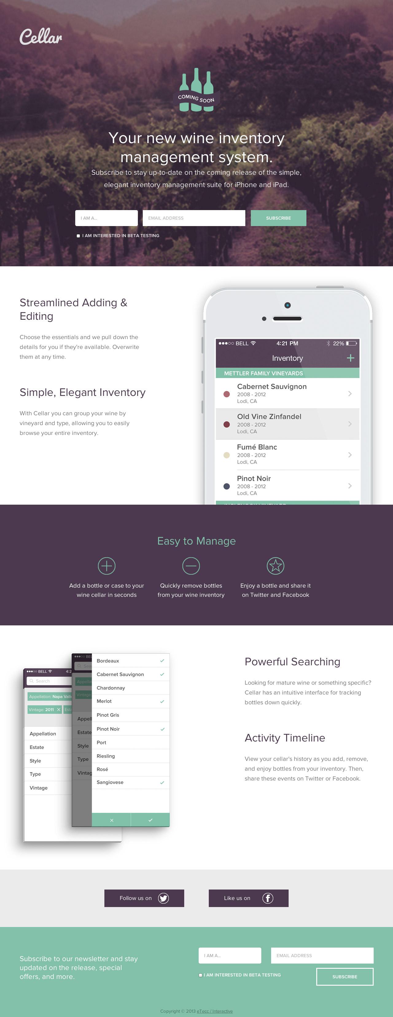 Cellar App Website Screenshot