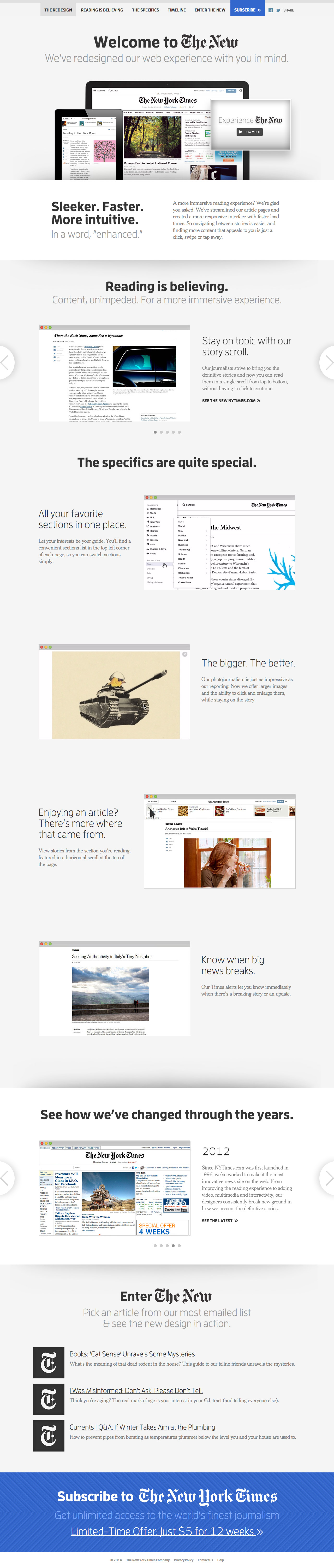 New York Times 2014 Redesign Website Screenshot