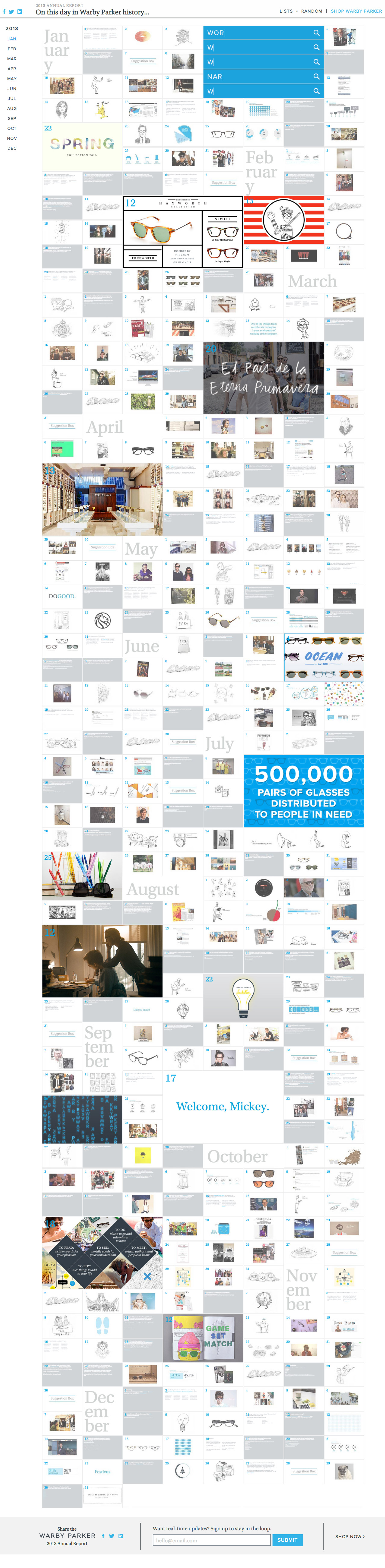 Warby Parker 2013 Annual Report Website Screenshot
