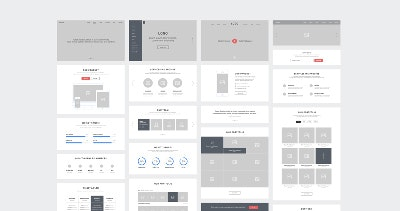 One Page Website Wireframes by Raul Taciu