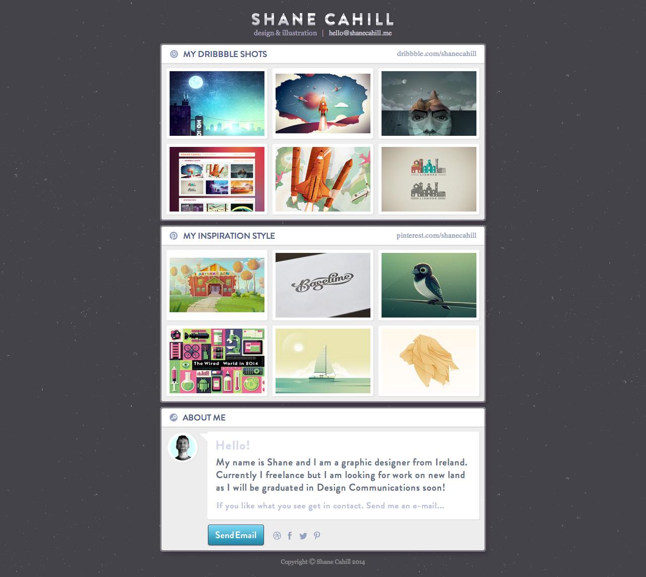 Shane Cahill Website Screenshot