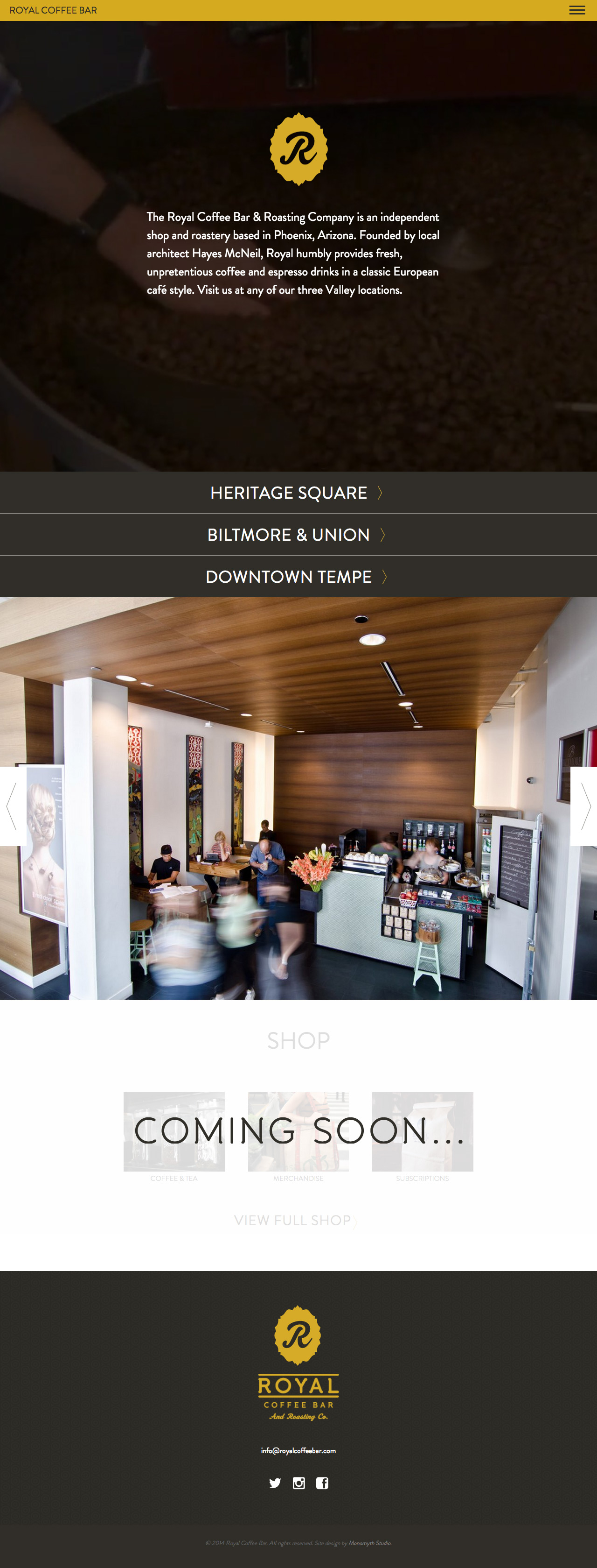 Royal Coffee Bar Website Screenshot