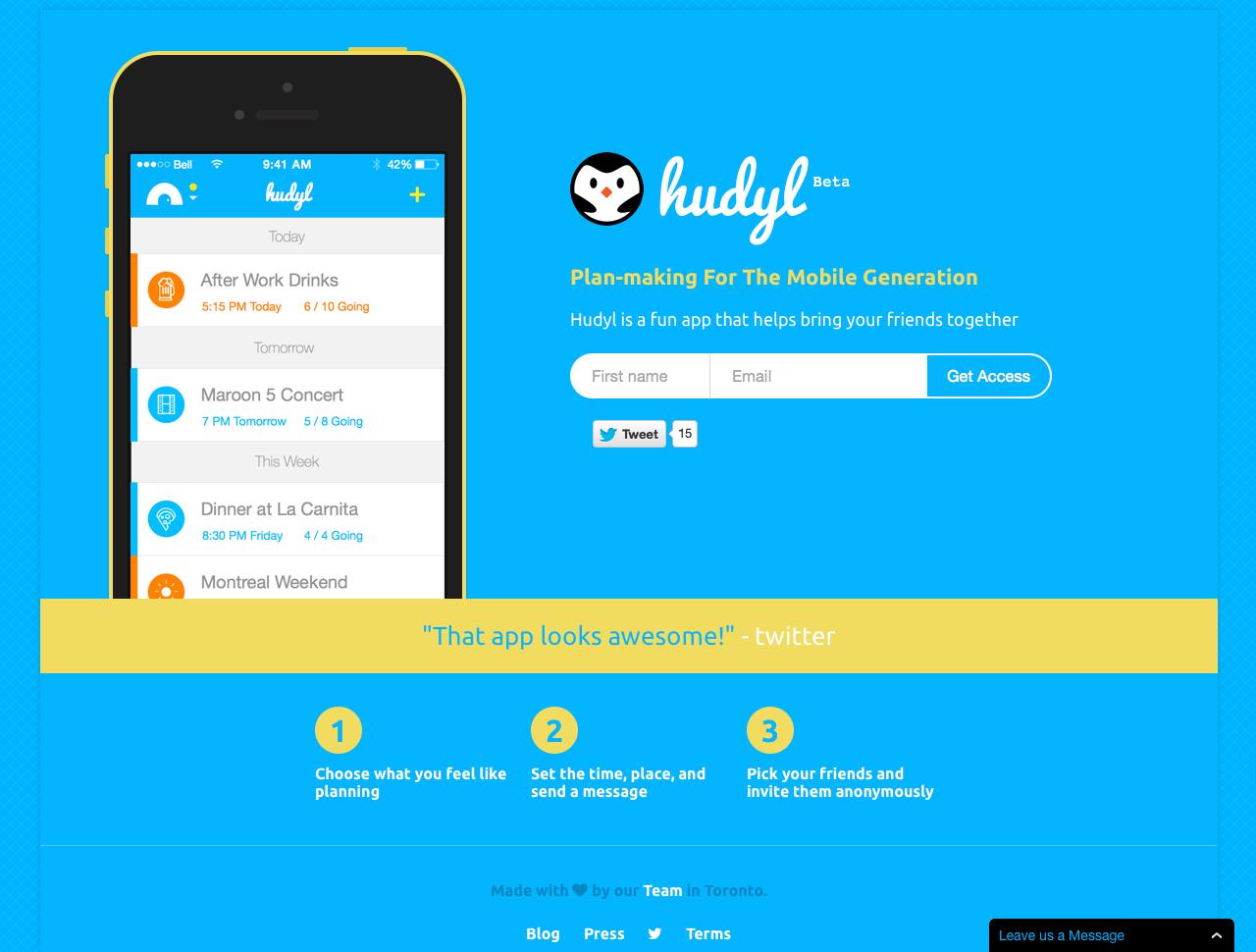 Hudyl Website Screenshot