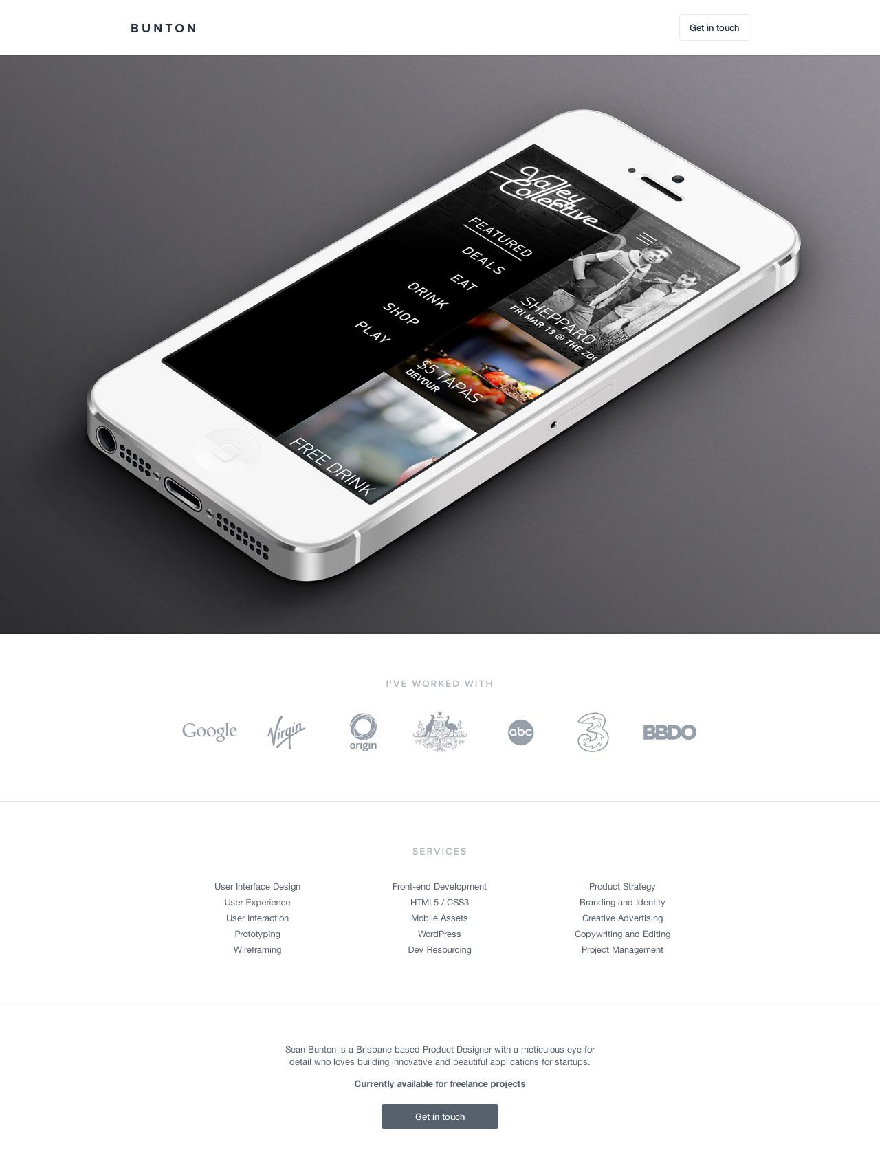 Sean Bunton Website Screenshot