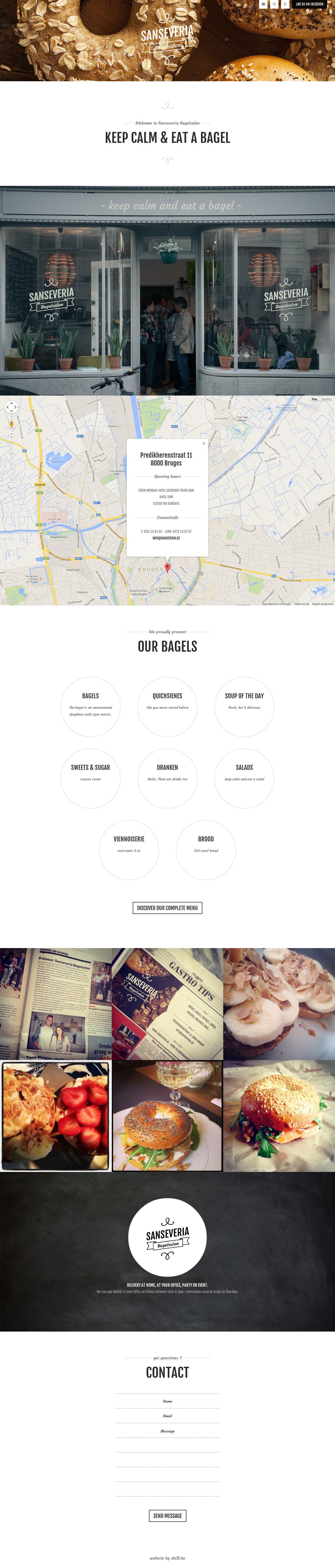 Sanseveria Bagelsalon Website Screenshot