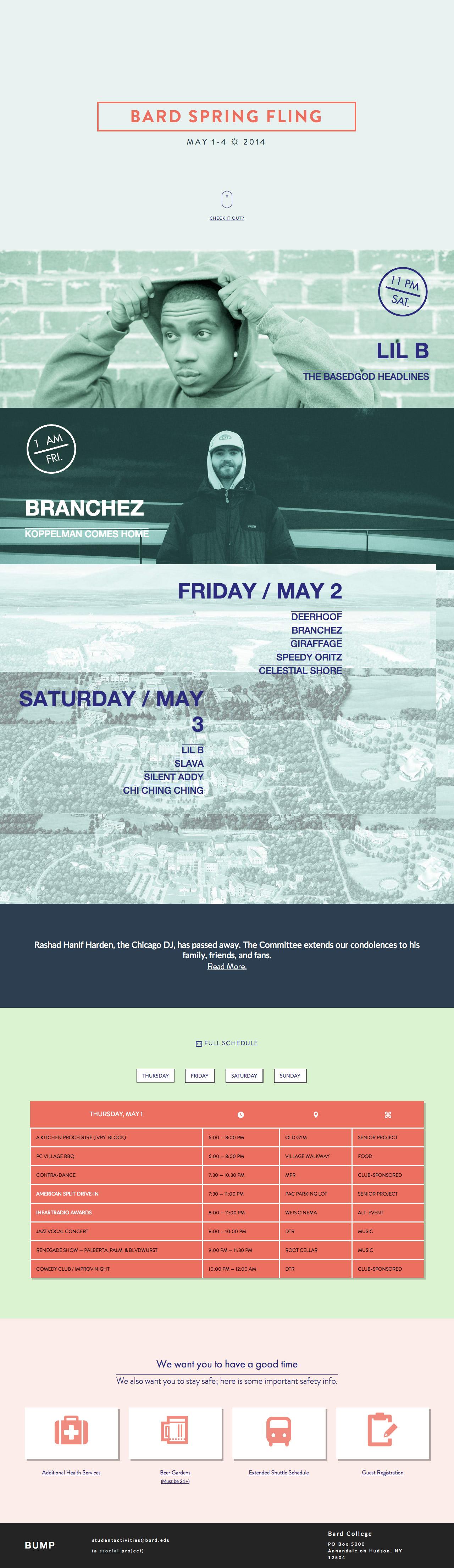 Bard ☼ Spring ☼ Fling Website Screenshot