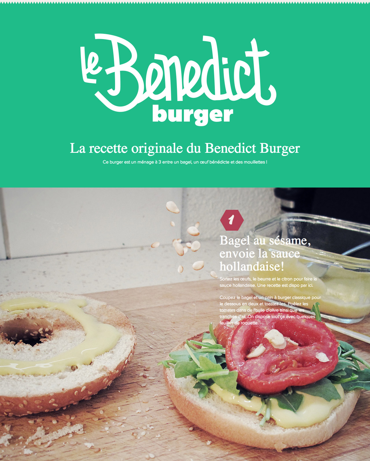 Benedict Burger recipe Website Screenshot