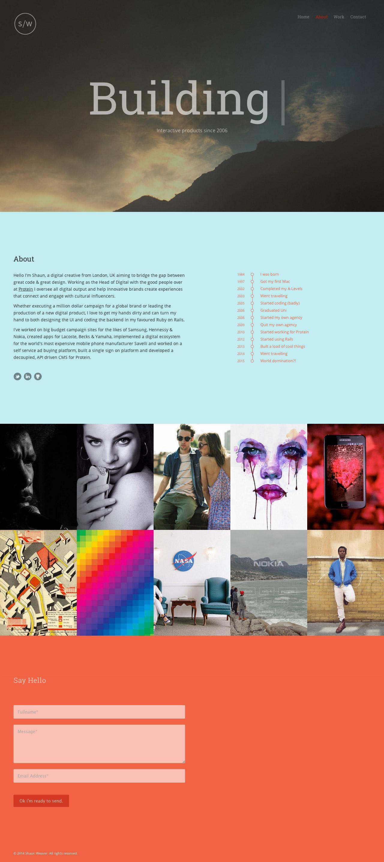 Shaun Weaver Website Screenshot